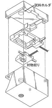 図1.プロトタイプ駆動機構の走査電子顕微鏡薄膜透過像観察ホルダへの応用例 斜視図